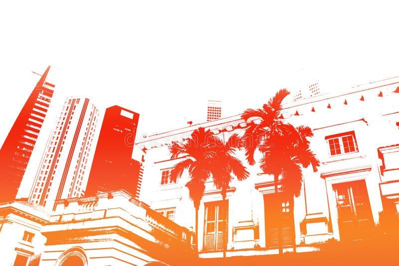 modernt orange moderiktigt för abstrakt stadsliv royaltyfri illustrationer