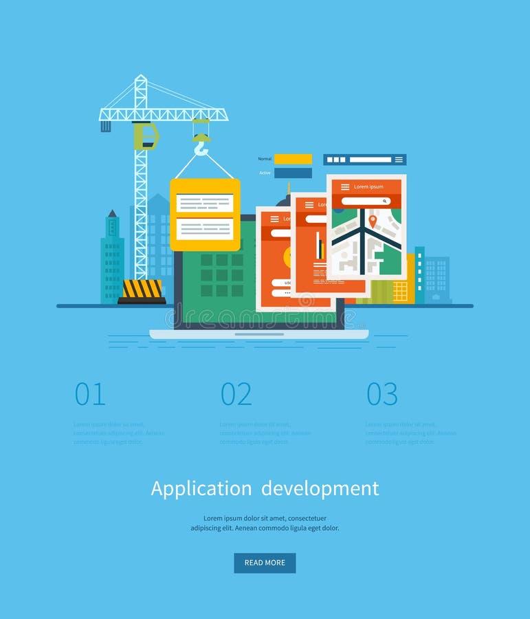 Modernt plant begrepp för designapplikationutveckling royaltyfri illustrationer