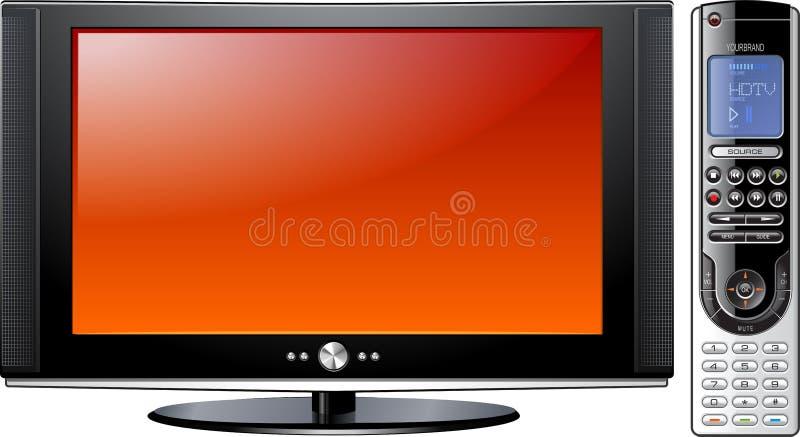 Modernt plant plasma LCD LEDDE TV med fjärrkontroll royaltyfri illustrationer