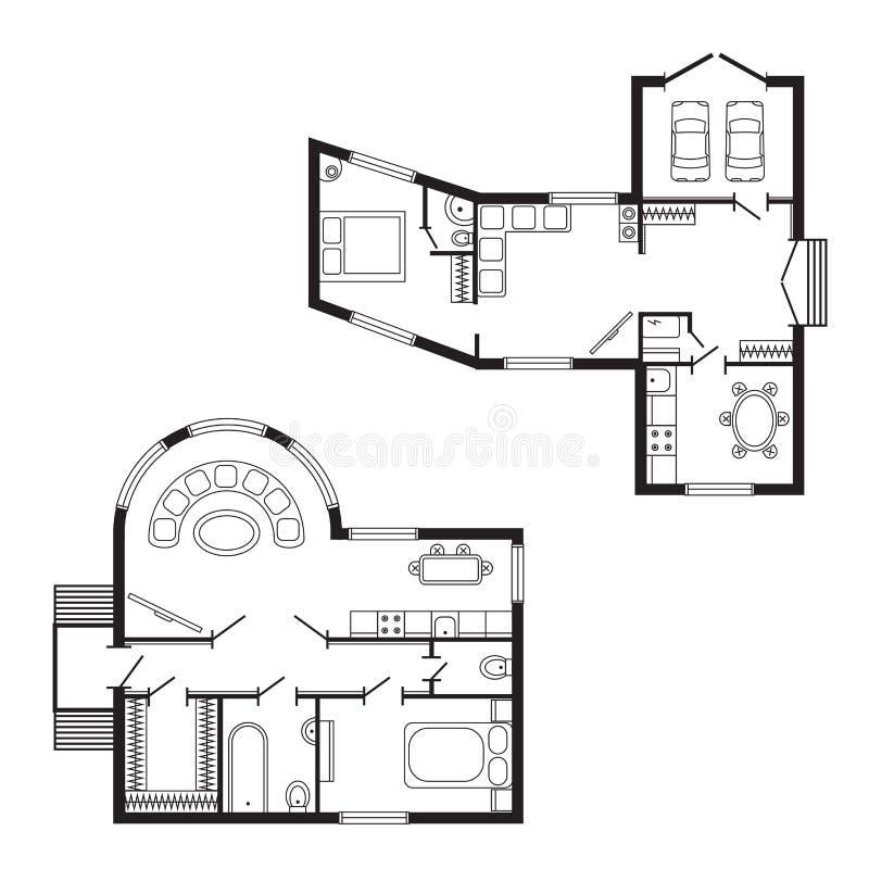 Modernt projekt för teckning för design för möblemang och för konstruktion för arkitektoniskt plan för kontor inre stock illustrationer