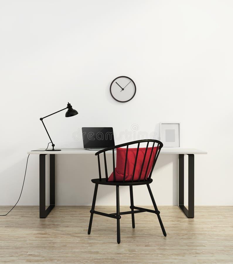 Modernt rött badkar i en vit interiorElegant minsta vit inrikesdepartementet med svart stol fotografering för bildbyråer