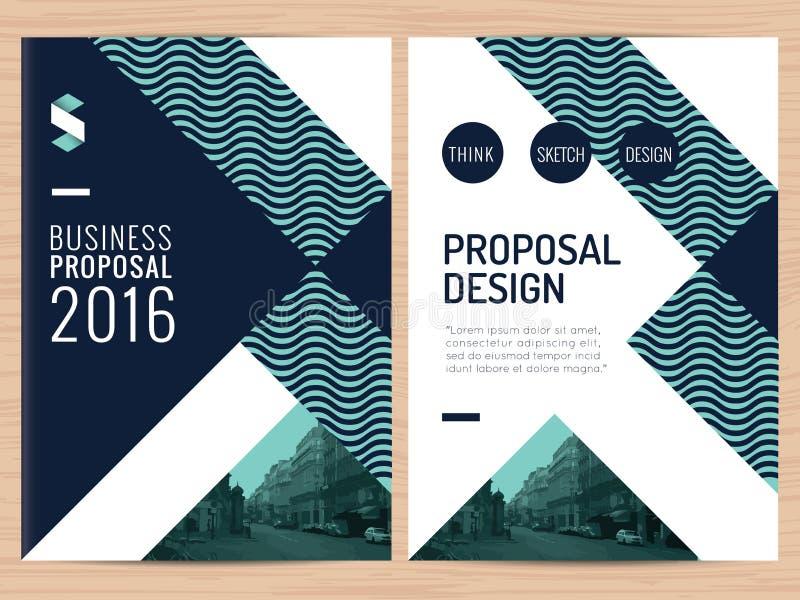 Modernt rent affärsförslag, årsrapport, broschyr, reklamblad, broschyr, företags presentationsdesignmall vektor illustrationer