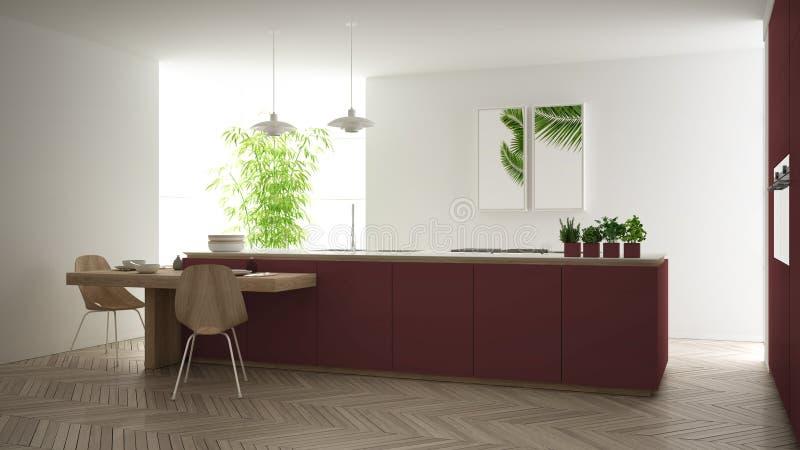 Modernt rent modernt rött kök, ö och trääta middag tabell med stolar, bambu och inlagda växter, stort fönster och vektor illustrationer