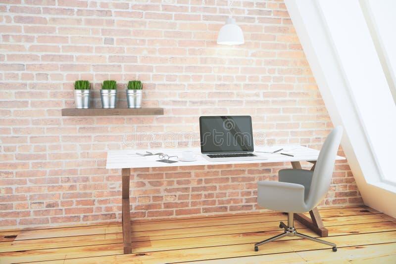 Modernt rum med bärbara datorn, tabellen, stol, tegelstenväggen och träflo vektor illustrationer