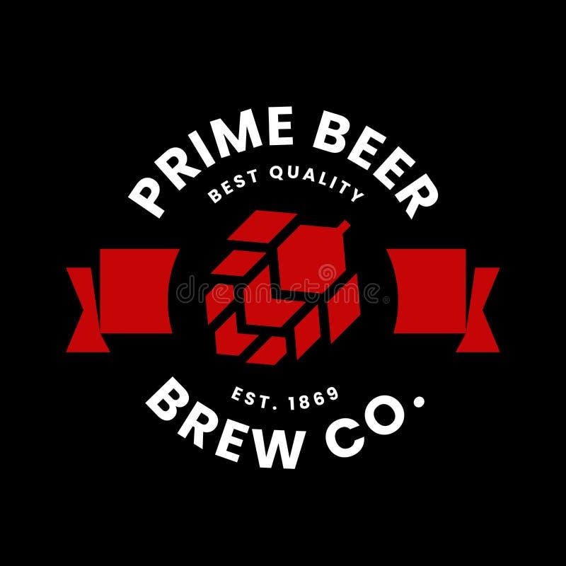 Modernt runt tecken för logo för vektor för hantverköldrink för stången, baren, lagret, brewhousen eller bryggeriet som isoleras  royaltyfri illustrationer