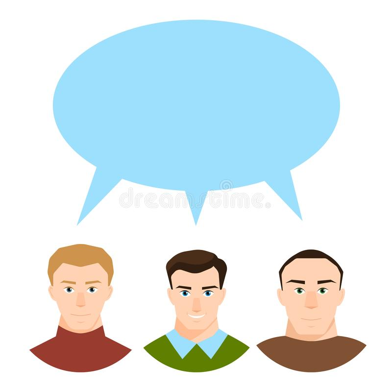 Modernt samhällebegrepp med gruppen av olikt folk i den isolerade gemenskapdiskussions- och anförandebubblan i plan stil vektor illustrationer