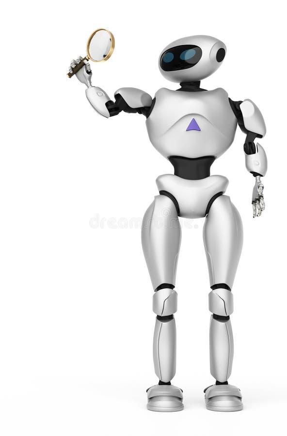 Modernt se för robot till och med ett förstoringsglas innovativ cybo stock illustrationer