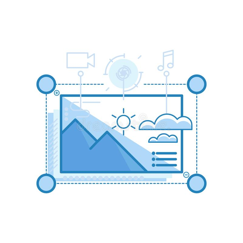Modernt slätt innehåll, massmedia, nöjda ledningdesignsymboler för rengöringsduk och grafisk design, Ui design, utveckling, etc.  royaltyfri illustrationer