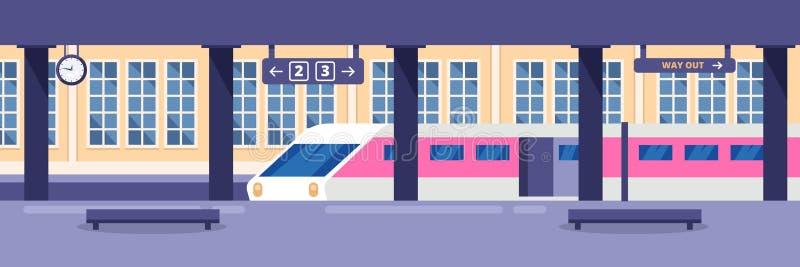 Modernt snabbt drev på tom järnvägsstation Järnväg passagerarekollektivtrafik, vektorillustration stock illustrationer