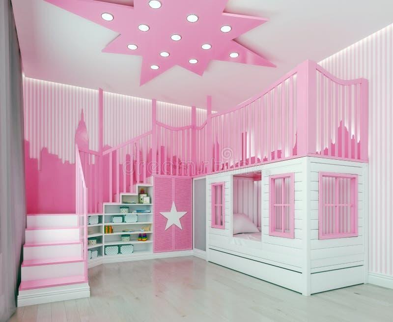 Modernt sovrum för ungar för inredesign, rosa färg, flickarum, lekrum, med dubbelsänger och trappa som slott med stadsgarnering royaltyfri fotografi