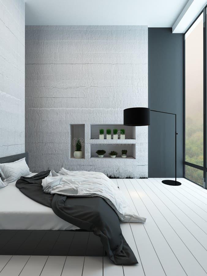 Modernt sovrum med alkovet fotografering för bildbyråer