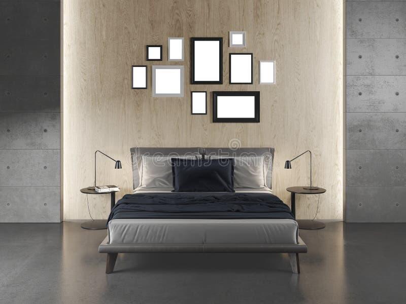 Modernt sovrum med det konkreta golvet och väggar royaltyfri illustrationer