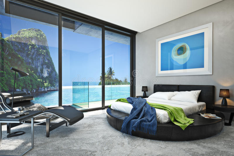 Modernt sovrum med en sikt av en storartad sjösidahavliten vik royaltyfria foton