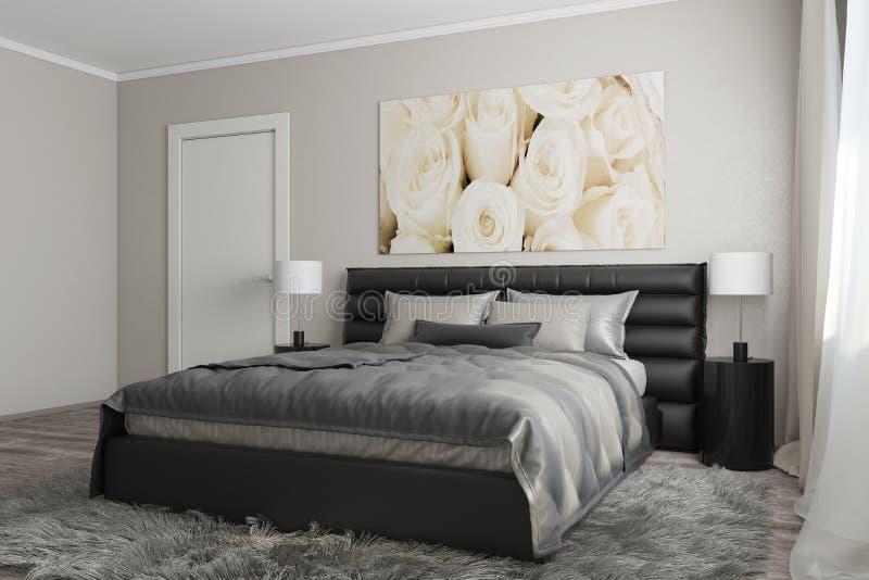 Modernt sovrum med vita rosor royaltyfri illustrationer