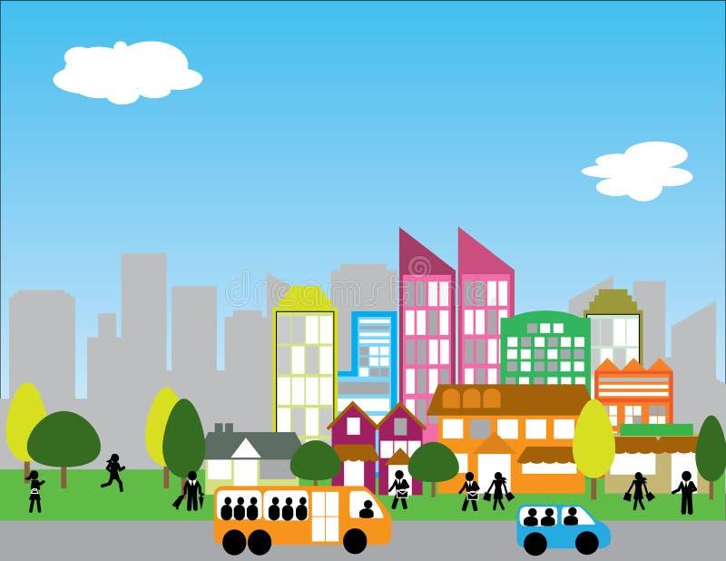 modernt stads- för stad vektor illustrationer