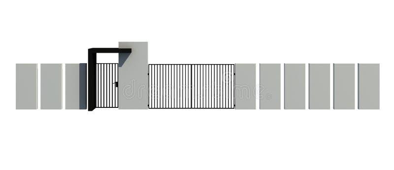 Modernt staket som isoleras på den vita illustrationen för bakgrund 3D royaltyfri illustrationer
