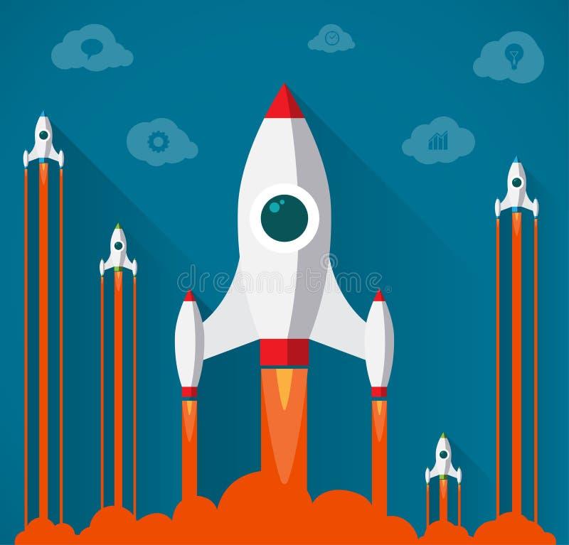 Modernt startup begrepp för plan design royaltyfri illustrationer