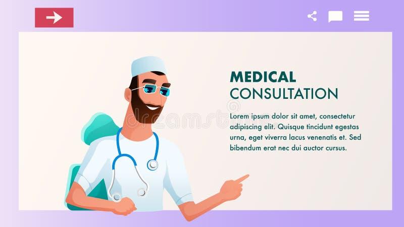 Modernt stetoskopsamtal för doktor Wear White Coat vektor illustrationer