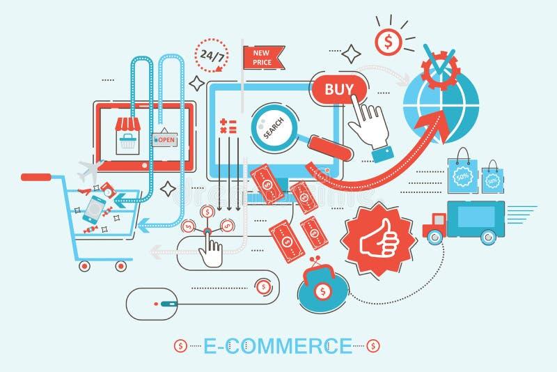 Modernt stilbegrepp för grafisk design av online-shopping royaltyfri illustrationer
