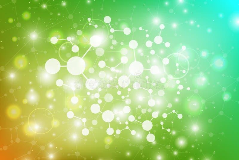 Modernt strukturmolekylDNA Atom Molekyl och kommunikationsbakgrund för medicin, vetenskap, teknologi, kemi royaltyfri illustrationer