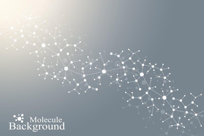 Modernt strukturmolekylDNA Atom Molekyl och kommunikationsbakgrund för medicin, vetenskap, teknologi, kemi vektor illustrationer
