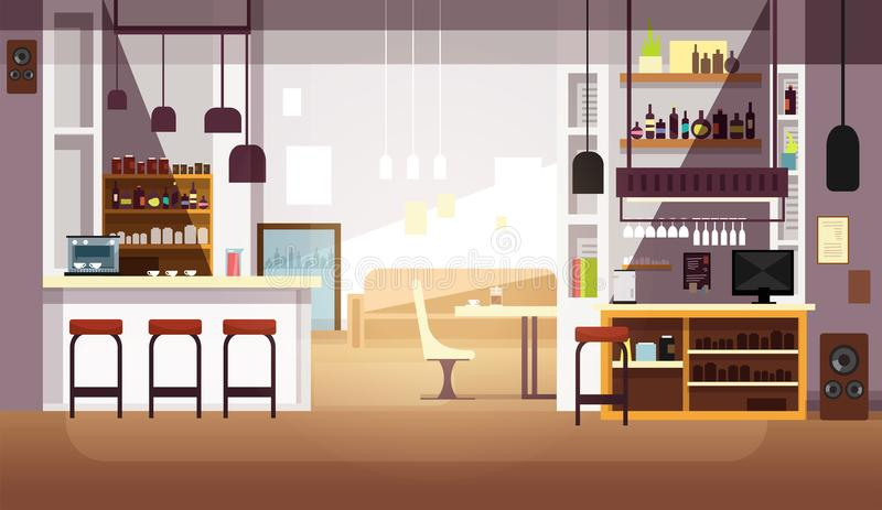 Modernt töm inre för stång- eller coffee shopvektorlägenheten stock illustrationer