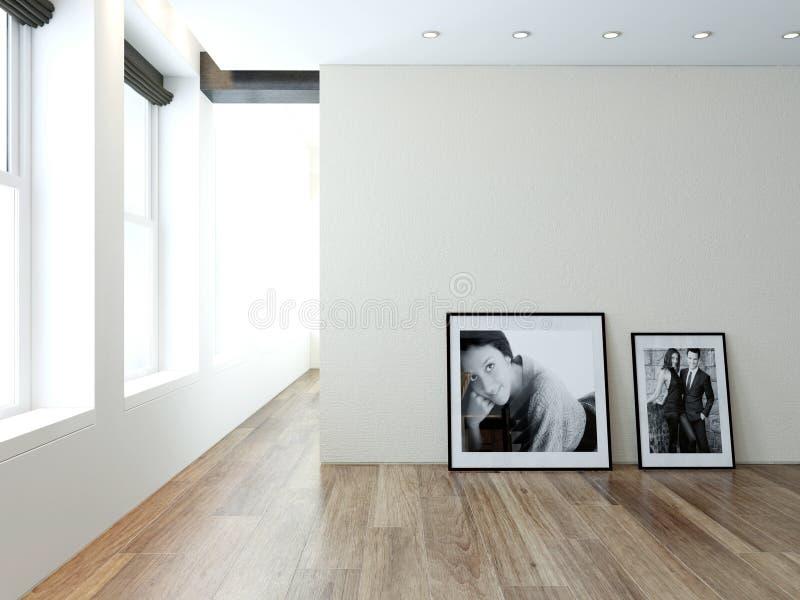 Modernt töm ruminre med bilder på väggen stock illustrationer