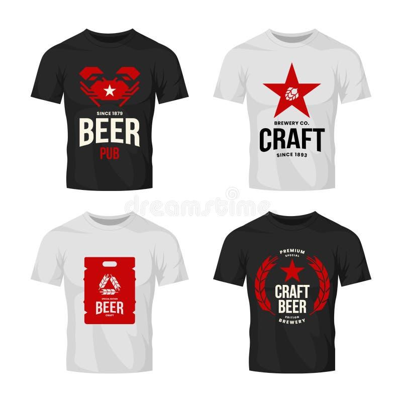 Modernt tecken för logo för vektor för hantverköldrink för stång, bar, lager, brewhouse eller bryggeri på t-skjorta åtlöje upp pa vektor illustrationer