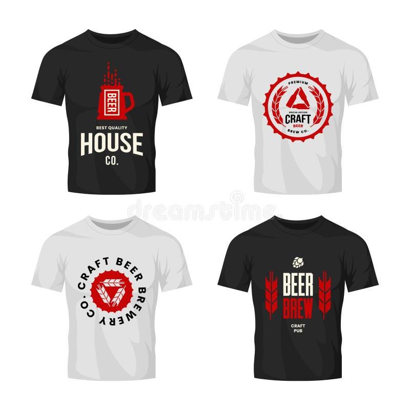 Modernt tecken för logo för vektor för hantverköldrink för stång, bar, lager, brewhouse eller bryggeri på t-skjorta åtlöje upp pa stock illustrationer