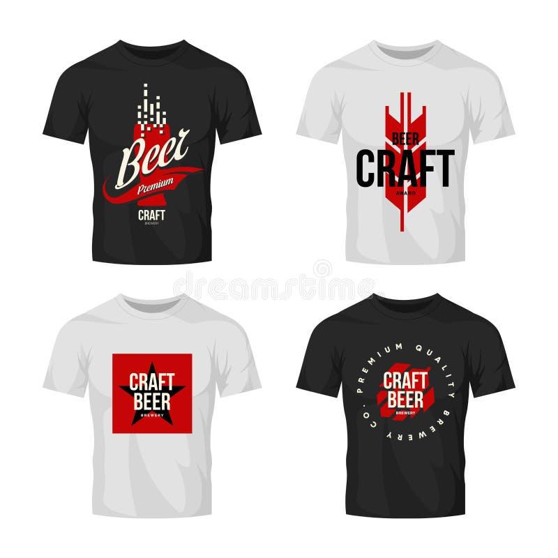 Modernt tecken för logo för vektor för hantverköldrink för stången, baren, bryggeriet eller brewhousen som isoleras på t-skjorta  vektor illustrationer