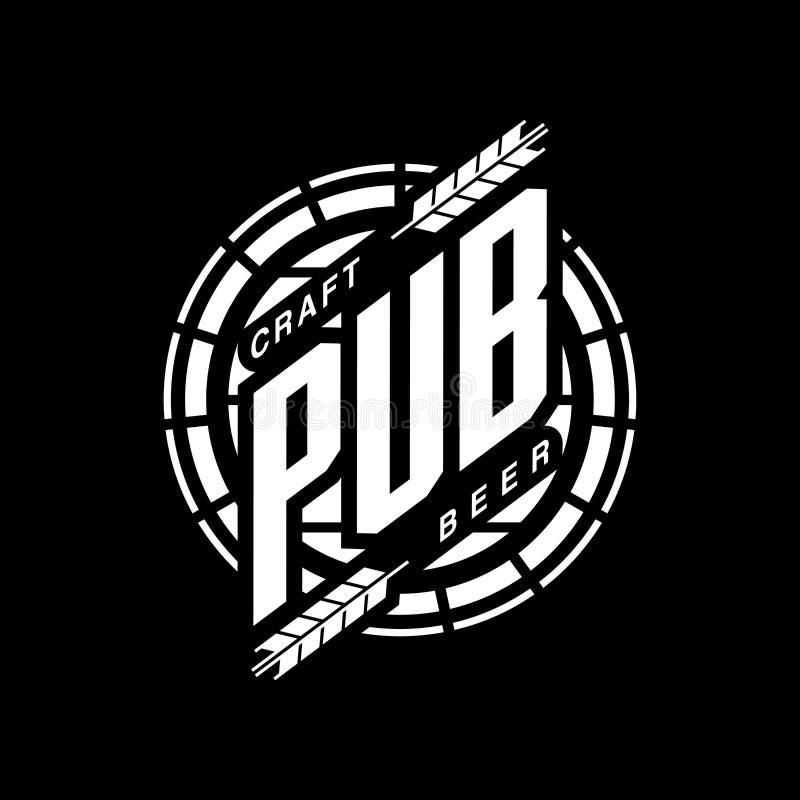 Modernt tecken för logo för vektor för hantverköldrink för stången, baren eller bryggeriet som isoleras på svart bakgrund royaltyfri illustrationer