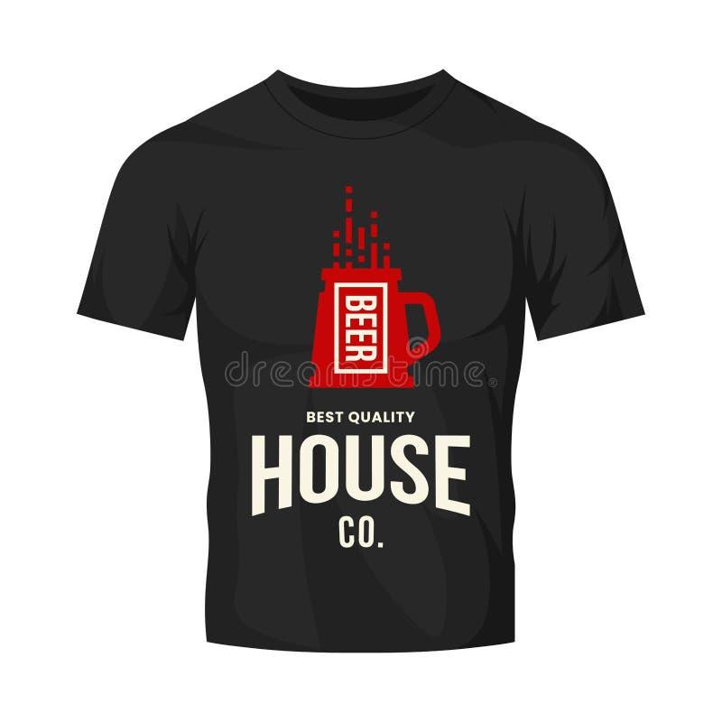 Modernt tecken för logo för vektor för hantverköldrink för stången, baren, lagret, brewhousen eller bryggeriet som isoleras på sv royaltyfri illustrationer