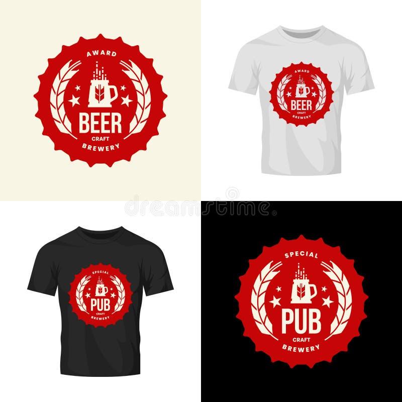 Modernt tecken för logo för vektor för hantverköldrink för stången, baren, lagret, brewhousen eller bryggeriet som isoleras på t- royaltyfri illustrationer