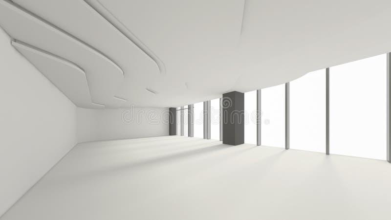 Modernt tomt rum, 3d framför inredesignen, åtlöje upp illustrati royaltyfri illustrationer