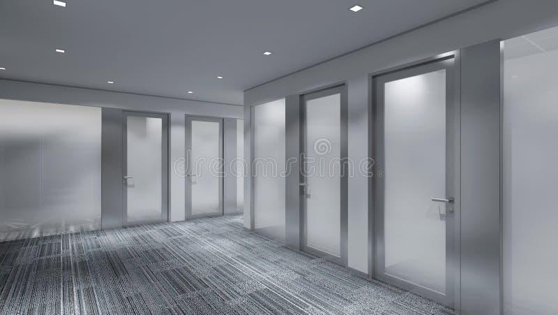 Modernt tomt rum, 3d framför inredesignen, åtlöje upp illustrati stock illustrationer