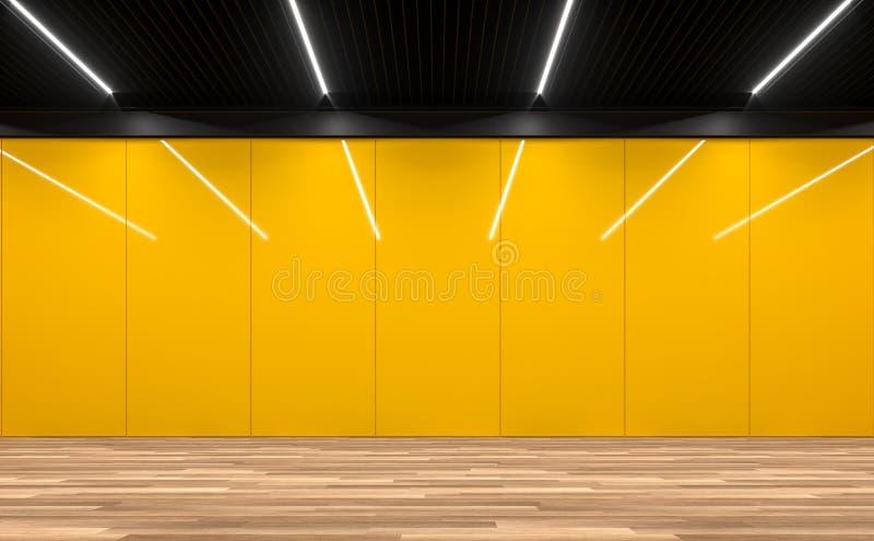 Modernt tomt rum med den gula glansiga väggen 3d framför vektor illustrationer
