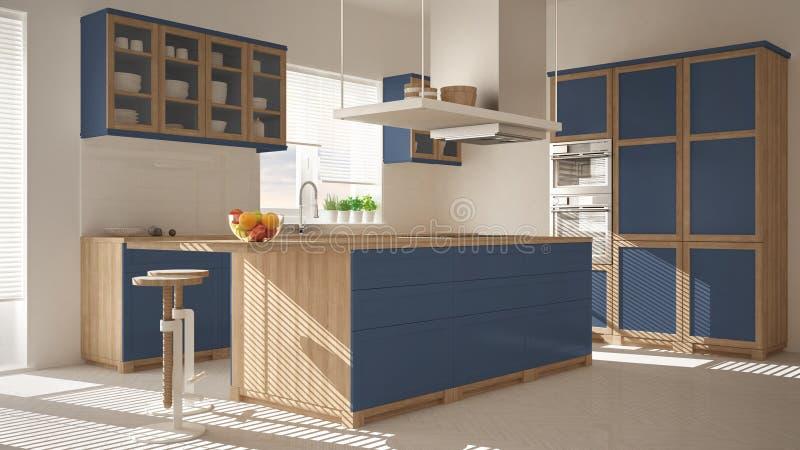 Modernt trä- och blått kök med ön, stolar och fönster, parkettfiskbensmönstergolv, minimalistic inre desi för arkitektur fotografering för bildbyråer