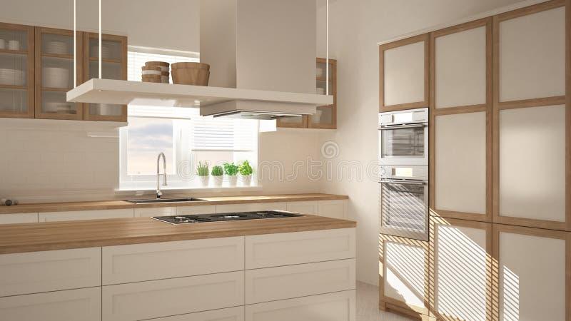 Modernt trä- och vitt kök med ön, parkettfiskbensmönstergolv, minimalistic inre för arkitektur arkivbilder