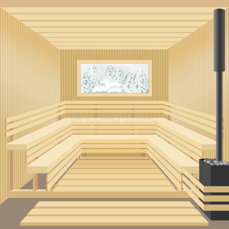 Modernt träbastubad med det stenugnen och fönstret Vinterlandskapsikt royaltyfri illustrationer