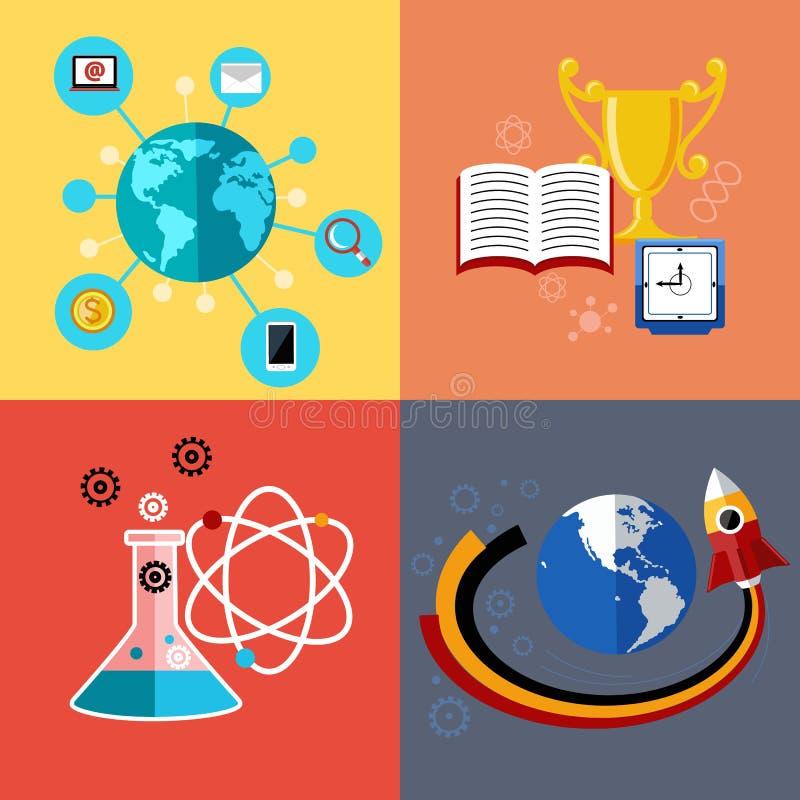 Modernt utbildnings- och vetenskapsbegrepp stock illustrationer