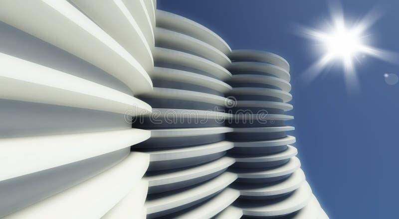 modernt utomhus- för arkitektur 3d royaltyfri illustrationer