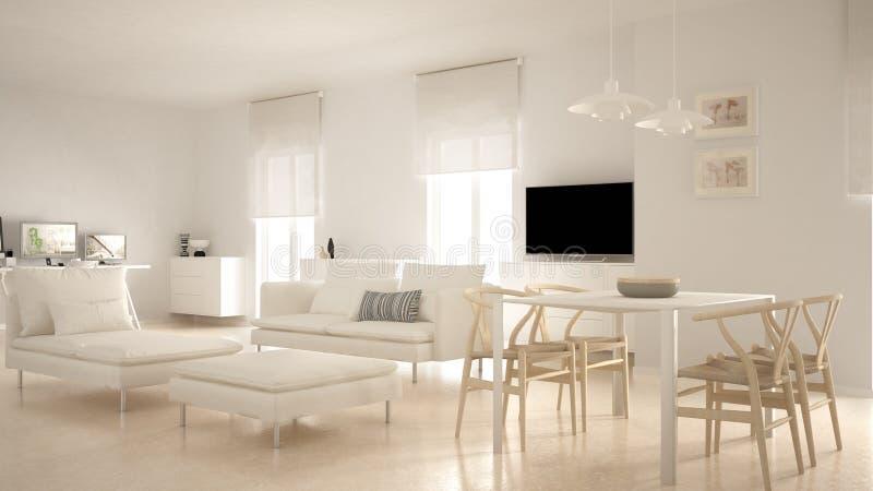 Modernt modernt vardagsrumöppet utrymme med att äta middag tabell- och hörnkontoret, hem- arbetsplats med datorer, minsta nordisk fotografering för bildbyråer