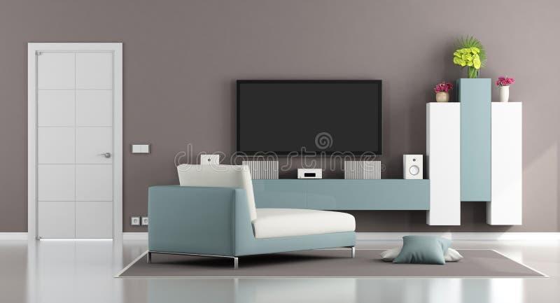 Modernt vardagsrum med TV:N royaltyfri illustrationer