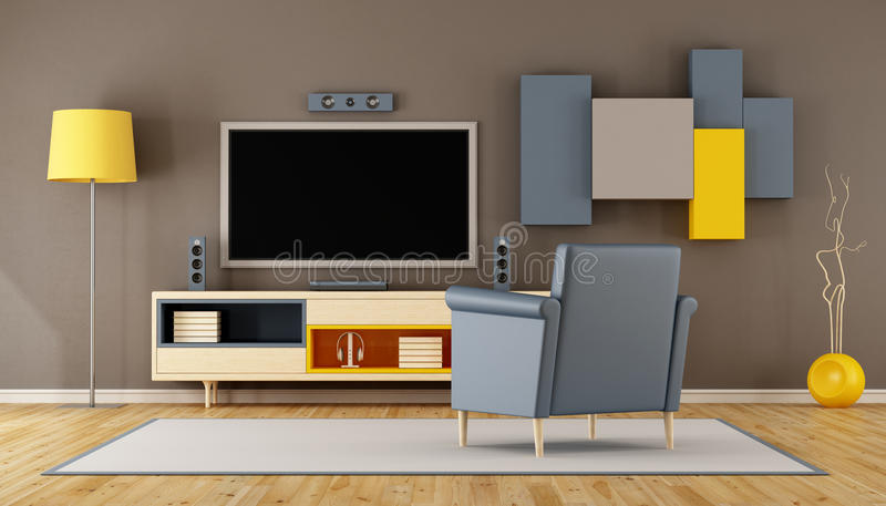 Modernt vardagsrumrum med TV royaltyfri illustrationer