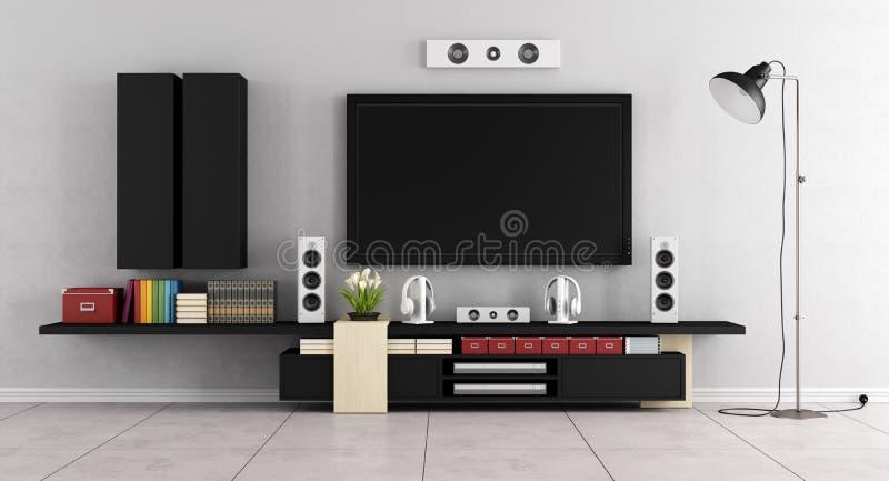 Modernt vardagsrumrum med TVväggenheten stock illustrationer