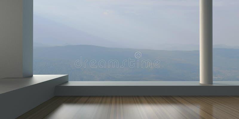 Modernt - vardagsrumsamtida och yttersida fönstret som förbiser berg arkivbild