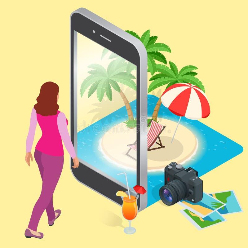 Modernt vektorbegrepp av resanden, bokning direktanslutet, planläggning per sommarsemester Bokning för hotell för loppflygbiljett royaltyfri illustrationer