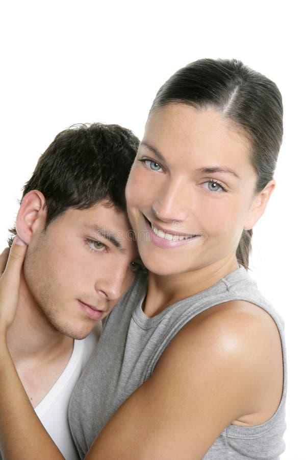 modernt vitt barn för härlig kram för par ny arkivfoton