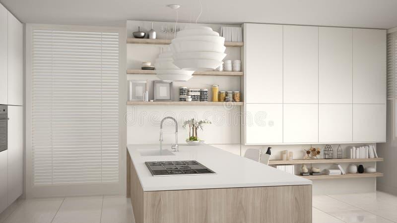 Modernt vitt och träkök med hyllor och kabinetter, ö med gasugnen och vask Modern vardagsrum som är minimalist fotografering för bildbyråer