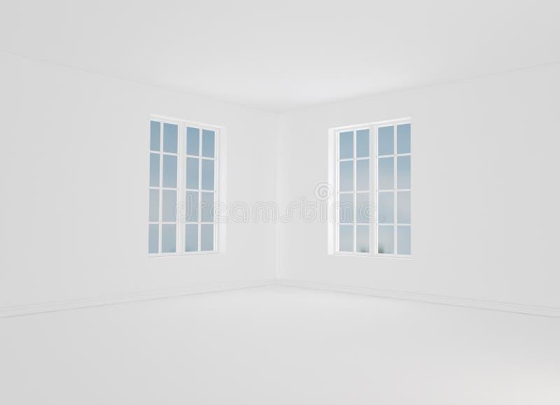 Modernt vitt rum med tomma väggar Modell 3d framför royaltyfri illustrationer